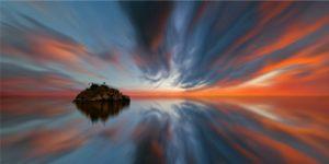 Efecto sedoso en las nubes y en el agua