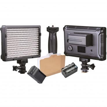 FOTIMA Antorcha LED FTL-308 con batería NP-750 y cargador.