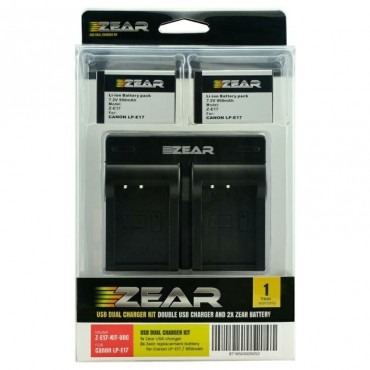 JUPIO ZEAR KIT 2 BATERIAS CANON LP-E17 + CARGADOR DOBLE MOD.ZE17 KIT UDC